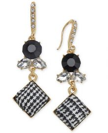 INC International Concepts I N C  Gold-Tone Stone   Tweed Drop Earrings  Created for Macy s Jewelry   Watches -  Fashion Jewelry - Macy s at Macys
