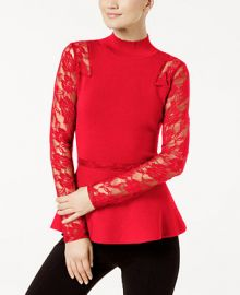 INC International Concepts I N C  Lace-Sleeve Peplum Sweater  Created for Macy s   Reviews - Sweaters - Women - Macy s at Macys