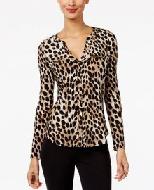 INC International Concepts I N C  Petite Printed Zip-Pocket Top  Created for Macy s   Reviews - Tops - Petites - Macy s at Macys