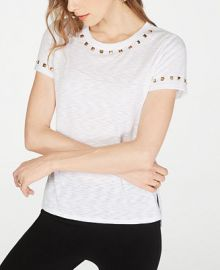 INC International Concepts I N C  Studded T-Shirt  Created for Macy s   Reviews - Tops - Women - Macy s at Macys