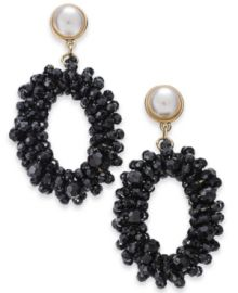 INC International Concepts Imitation Pearl Drop Hoop Earrings at Macys
