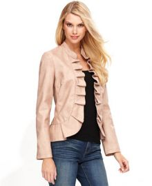 INC International Concepts Jacket Faux-Leather Ruffle at Macys