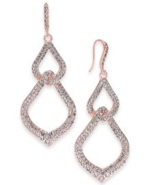 INC International Concepts Pavé Interlocking Linear Drop Earrings at Macys