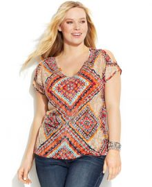 INC International Concepts Printed Cold-Shoulder Top in scarf print at Macys