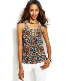 INC International Concepts Printed Embellished Keyhole Top at Macys