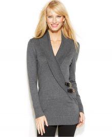 INC International Concepts Shawl-Collar Buckle Sweater in Grey at Macys