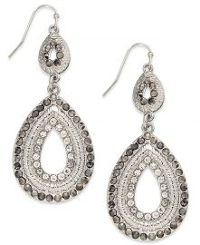 INC International Concepts Silver-Tone Pave Double Drop Earrings at Macys