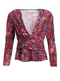 IRO - Hurl Deep-V Silk Blouse at Saks Fifth Avenue