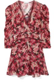 IRO - Wick wrap-effect ruched floral-print crepon mini dress at Net A Porter