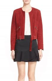 IRO Collarless Suede Moto Jacket at Nordstrom