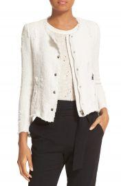 IRO Snap Front Crop Cotton Tweed Jacket at Nordstrom