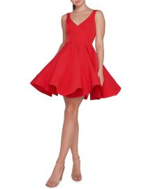 Ieena for Mac Duggal Sleeveless V-Neck Fit-and-Flare Dress w  Dramatic Skirt at Neiman Marcus