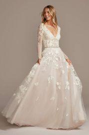 Illusion Sleeve Plunging Ball Gown Wedding Dress by Galina Signature at Davids Bridal