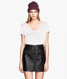Imitation Leather Skirt at H&M