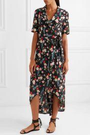 Imogene floral-print washed-silk wrap dress at Net a Porter