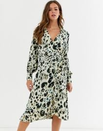 Influence wrap front satin midi dress in abstract leopard print   ASOS at Asos