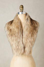 Ingara Faux-Fur Stole in Brown at Anthropologie