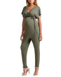Ingrid  amp  Isabel Maternity Cross-Front Jersey Jumpsuit at Neiman Marcus