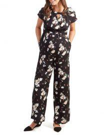 Ingrid  amp  Isabel Maternity Floral-Print Adjustable-Waist Short-Sleeve Jumpsuit at Neiman Marcus