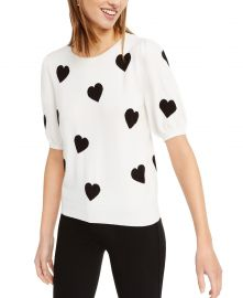 Intarsia Heart Short-Sleeve Sweater at Macys
