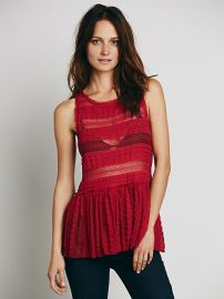 Intimately  Textured Lace Tunic in Red at Free People