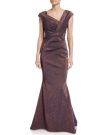 Iridescent Gazar V-Neck Gown by Talbot Runhof at Neiman Marcus