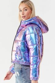 Iridescent Metallic Puffer Jacket by Forever 21 at Forever 21