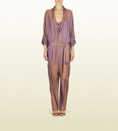 Iridescent Peach Twill Belted Jumpsuit at Gucci