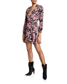 Iro Bloomy Printed Long-Sleeve Wrap Dress at Neiman Marcus