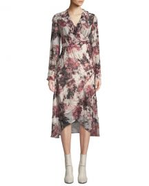 Iro Garden Surplice Long-Sleeve Printed Wrap Dress at Neiman Marcus