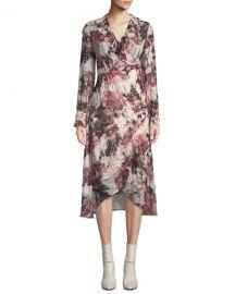 Iro Garden Surplice Long-Sleeve Printed Wrap Dress at Neiman Marcus