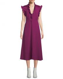 Iro Hurray Ruffle Split-Hem Midi Dress at Neiman Marcus