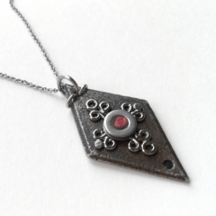 Iron Diamond Pendant Necklace at Loralyn Designs