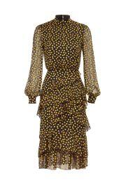 Isa Ruffle Dress by Saloni at Rent The Runway