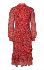 Isa Ruffled Printed Silk-Chiffon Midi Dress at Moda Operandi