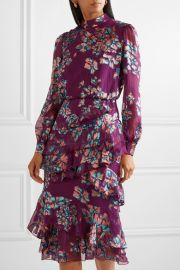 Isa ruffled floral-print devoré-chiffon midi dress at Net A Porter