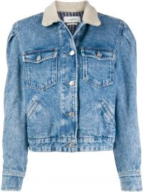 Isabel Marant   toile Nolinea shearling-collar denim jacket Nolinea shearling-collar denim jacket at Farfetch