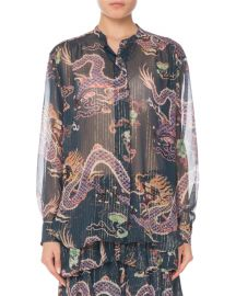 Isabel Marant Long-Sleeve Button-Front Dragon-Print Silk Blouse at Neiman Marcus