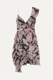 Isabel Marant - Enta asymmetric ruffled printed silk-voile mini dress at Net A Porter