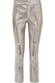 Isabel Marant - Novida metallic striped leather skinny pants at Net A Porter
