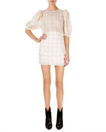 Isabel Marant Adelaide Short-Sleeve Checked Organza Mini Dress at Neiman Marcus