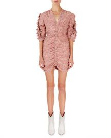 Isabel Marant Andor Floral Ruched-Seam Mini Dress at Neiman Marcus