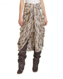 Isabel Marant Candelia Quilting-Print Fil Coupe Draped Skirt at Neiman Marcus