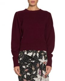 Isabel Marant Colroy Crewneck Puff-Shoulder Long-Sleeve Cashmere Sweater at Neiman Marcus