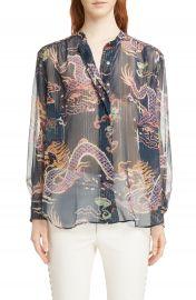 Isabel Marant Daws Dragon Print Silk Blend Shirt at Nordstrom