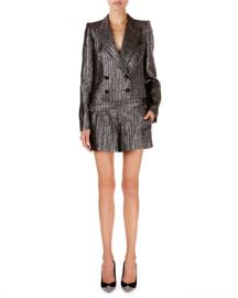 Isabel Marant Derron Shimmer-Ribbed All-In-One Blazer Romper at Neiman Marcus