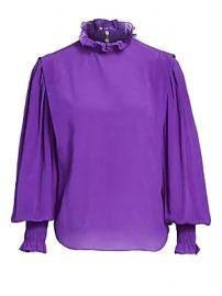 Isabel Marant Etoile - Yoshi Ruffle-Neck Silk Blouse at Saks Fifth Avenue