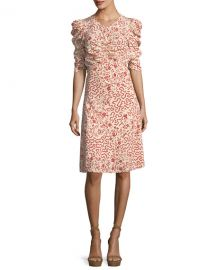 Isabel Marant Gresham Ruched Half-Sleeve Dress at Neiman Marcus
