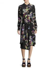 Isabel Marant Iam Bouquet-Print Silk Dress  Black at Neiman Marcus