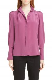 Isabel Marant Lamia Ruffle Neck Silk Blouse   Nordstrom at Nordstrom